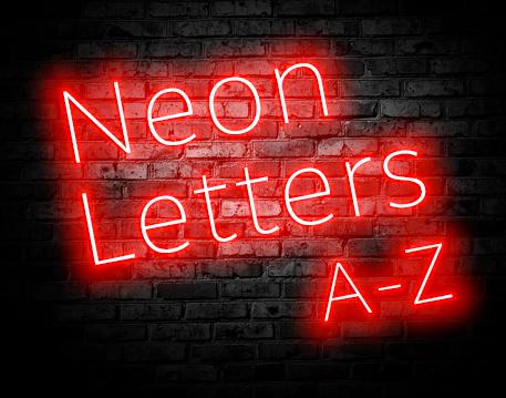 Alphabet Letters Neon Style