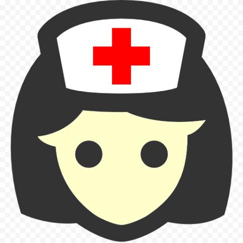 Cartoon Female Nurse Wear Red Cross Cap Icon