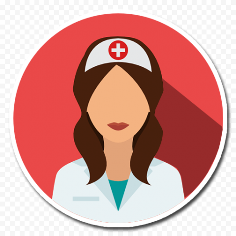 Round Flat Red Icon Female Nurse With Cap
