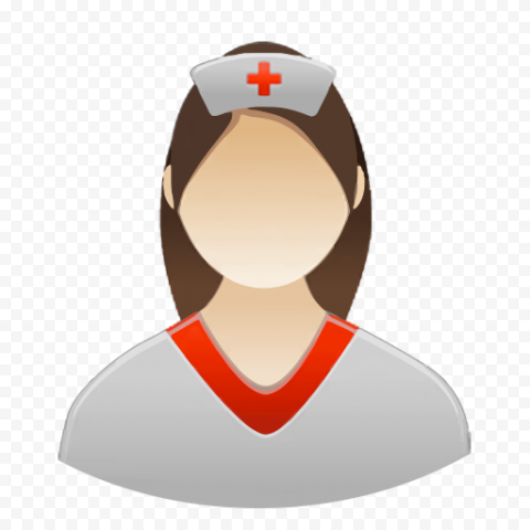 Computer Female Nurse Icon With Red Cross Cap
