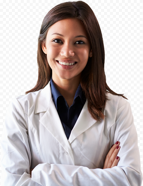 Brown Female Doctor White Coat Smiling