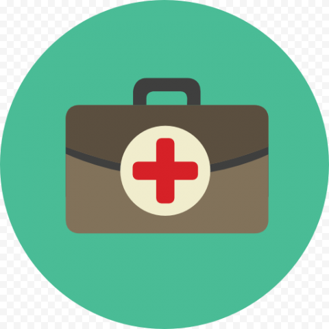 Flat Green Round First Aid Bag Computer Icon