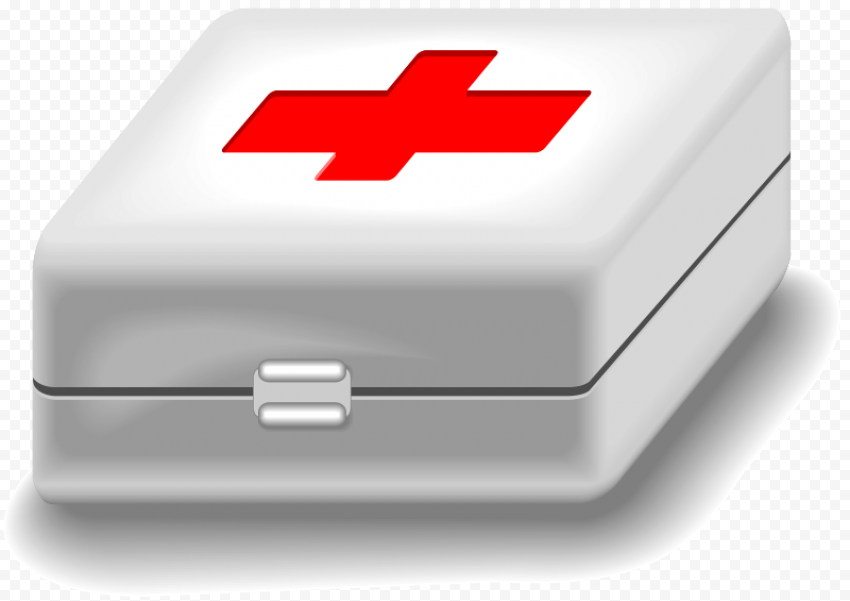 White Medical First Aid Box With Red Cross Icon