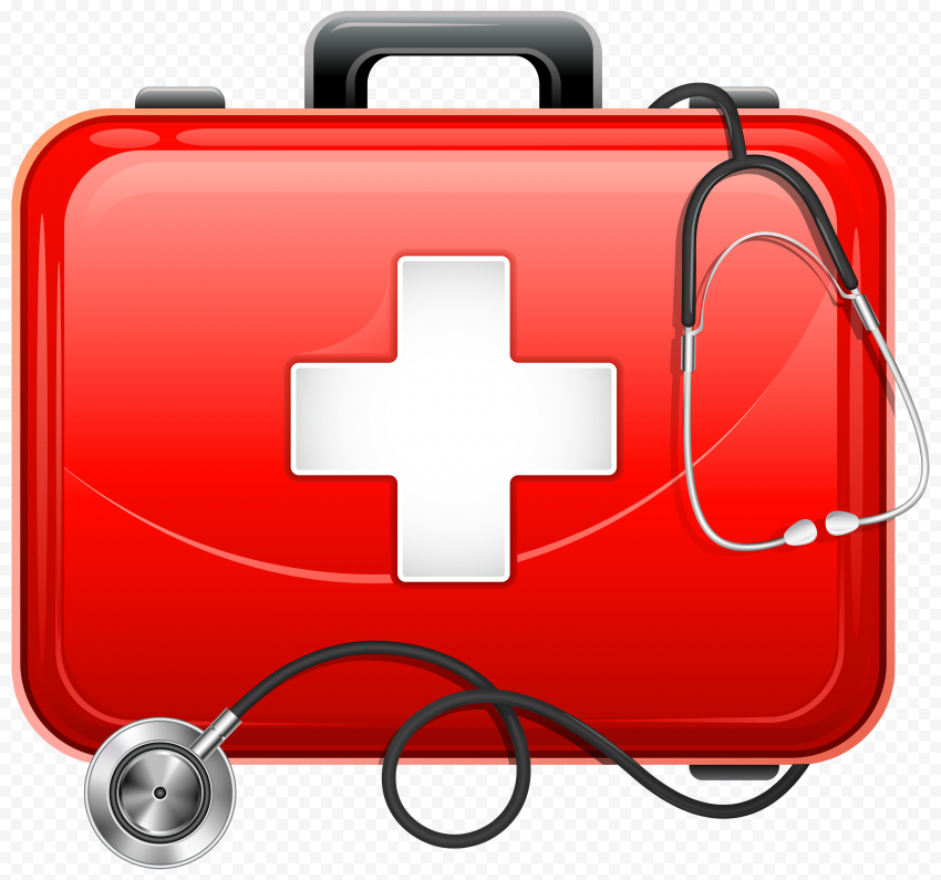 Red First Aid Bag Illustration Stethoscope Icon