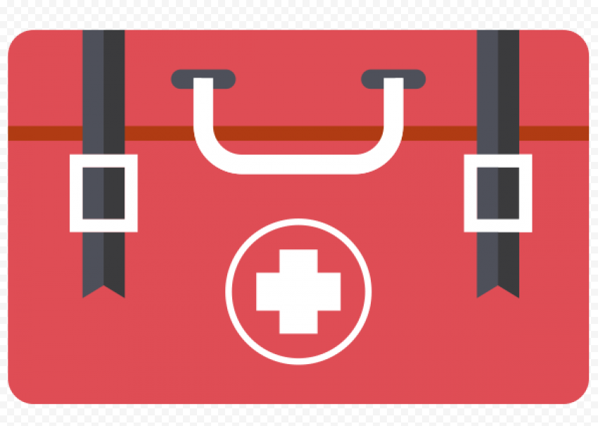 Flat Medical Red First Aid Bag Computer Icon