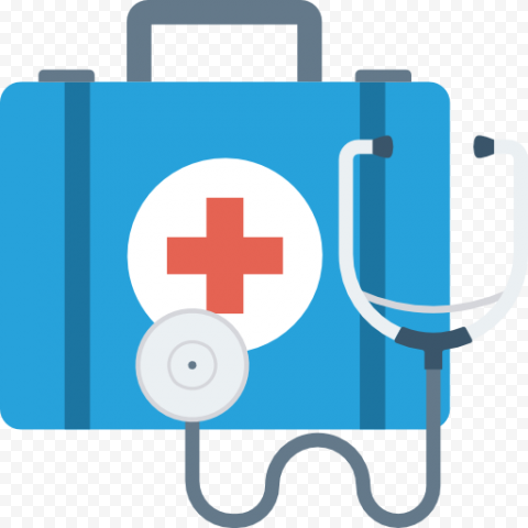 Blue Flat First Aid Bag With Stethoscope Icon