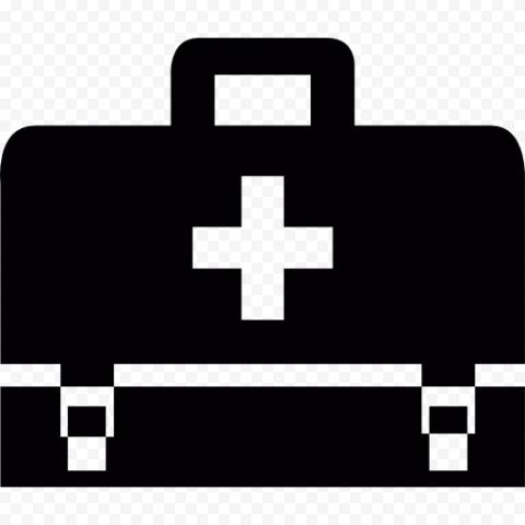 Black Emergency First Aid Bag Computer Icon