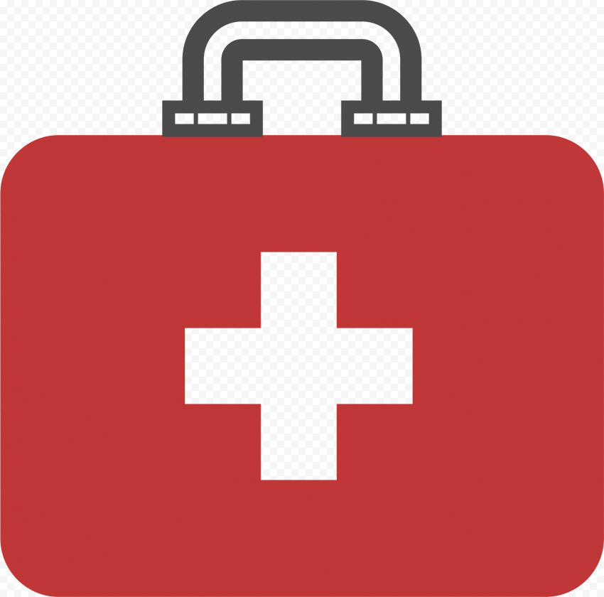 Flat Red Emergency Doctor First Aid Bag Icon