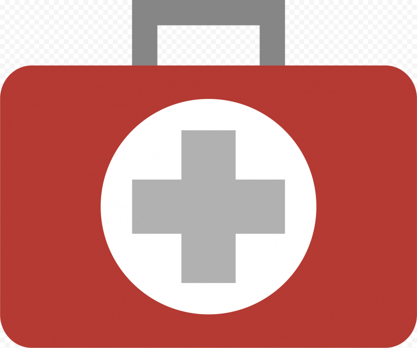 Flat Red Emergency First Aid Hand Bag Icon