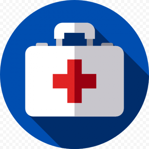 Blue Round Flat White Emergency First Aid Icon
