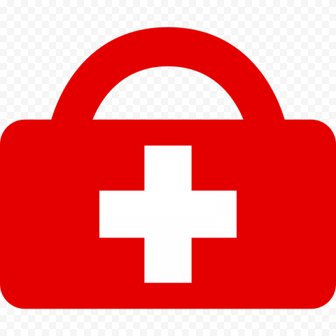Red Emergency First Aid Bag White Cross Icon