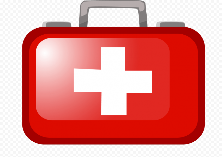 Red Illustration Cartoon First Aid Bag Icon