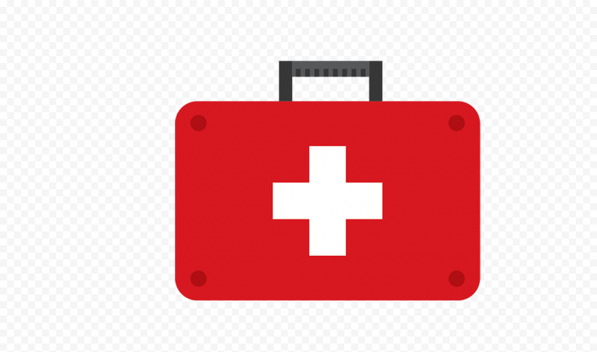 Red Flat First Aid Doctor Emergency Bag Icon