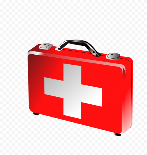 Emergency Red Illustration 3D First Aid Bag Icon