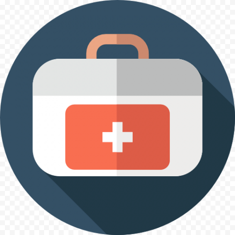 Dark Blue Round Flat White First Aid Icon