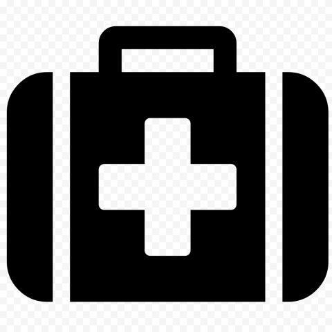 Black Emergency Doctor First Aid Bag Computer Icon