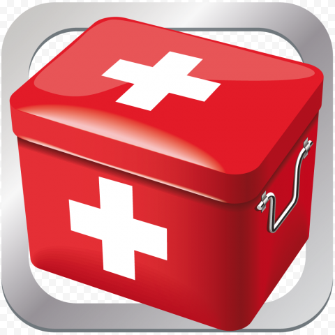 Square Red Application Emergency First Aid Icon
