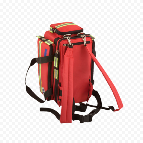 Back Side View Red Yellow Fluo Backpack First Aid