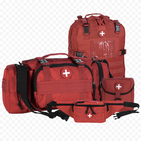 Set Of Red Emergency First Aid Kit Bags