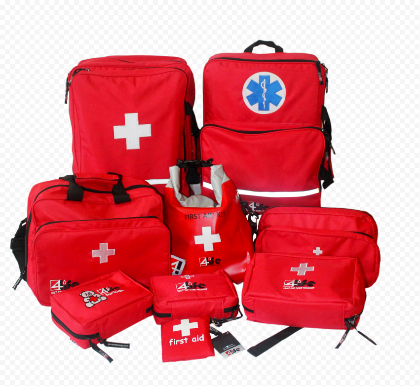 Group Of Red Medical Emergency First Aid Kit Bags
