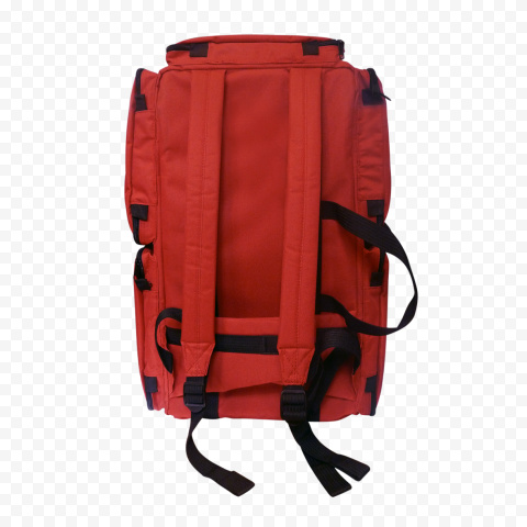 Back View Red Medical Backpack First Aid Kit