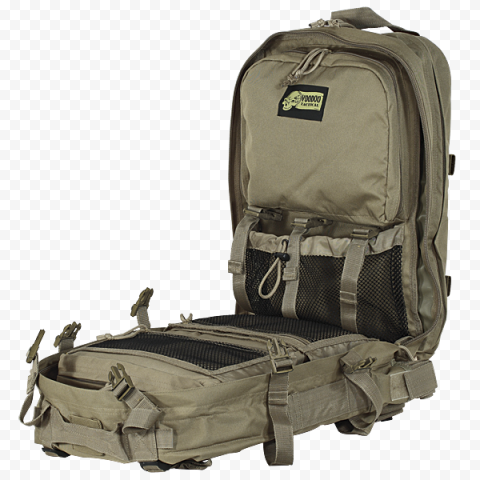 Opened Military First Aid Kit Emergency Backpack