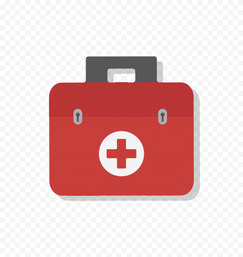 Flat First Aid Medical Emergency Bag Red Icon