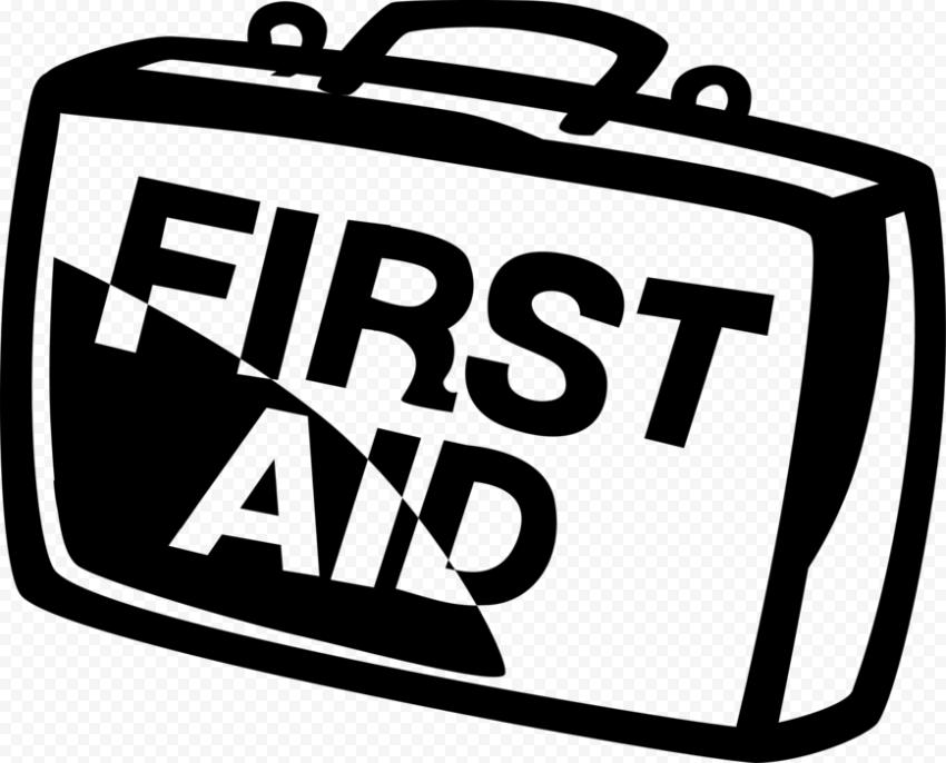 Black Cartoon First Aid Kit Supplies Bag Icon
