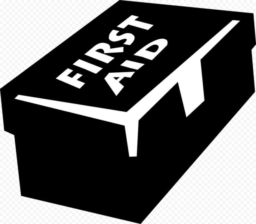 Black & White First Aid Kit Supplies Box Icon