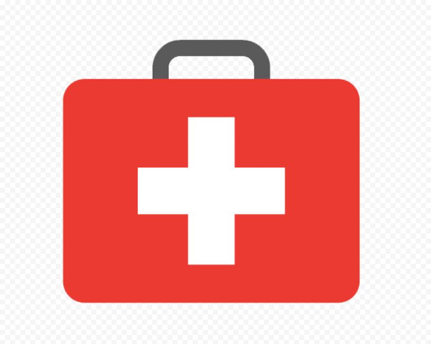 Red Flat First Aid Medical Emergency Handbag Icon