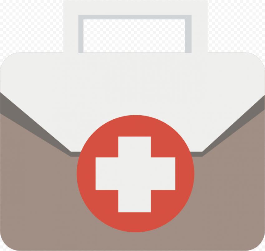 Flat First Aid Medical Emergency Bag Beige Icon