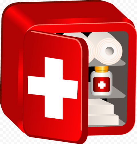 3D Red Illustration Medicine First Aid Storage Box