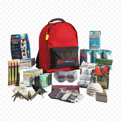 Red First Aid Backpack With Medicine Supplies