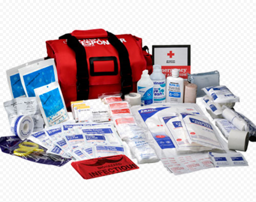 Red First Aid Bag With Medicine Supplies