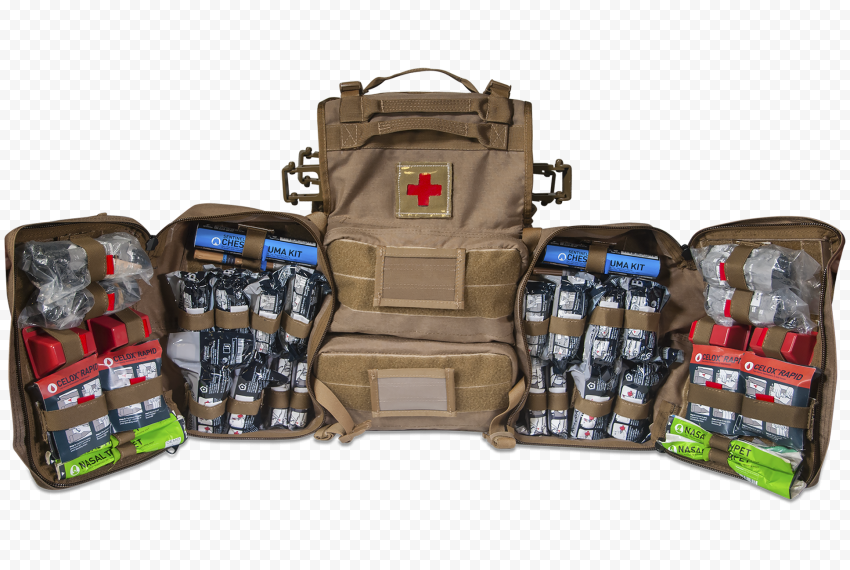 Opened Military Backpack First Aid Kit Supplies