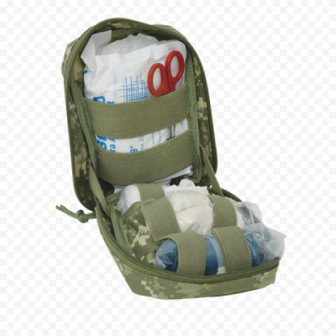 Opened Military First Aid Kit Medicine Supplies