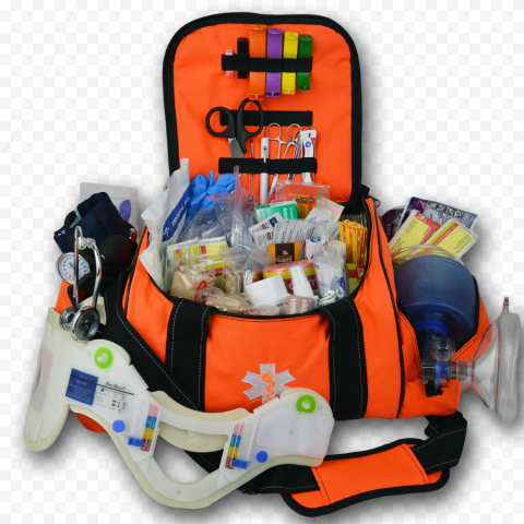 Opened First Aid Bag With Medical Equipment