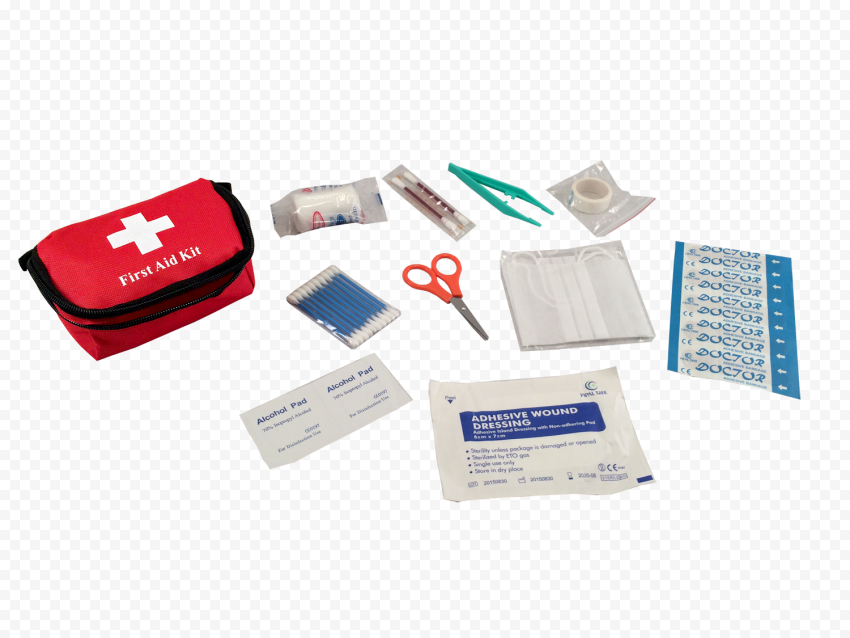 Red Small First Aid Bag With Medicine Supplies