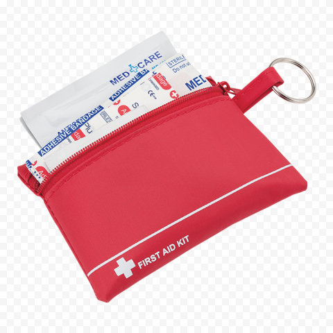 Red Small First Aid Kit With Medicine Supplies