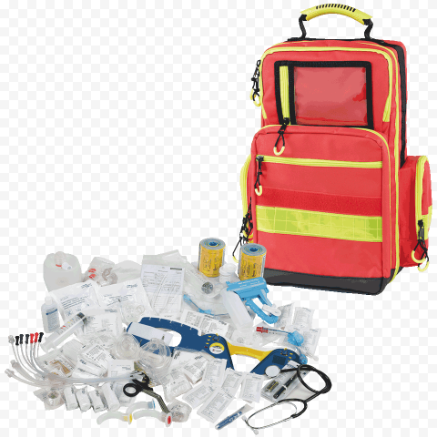 Orange First Aid Backpack With Medicine Supplies