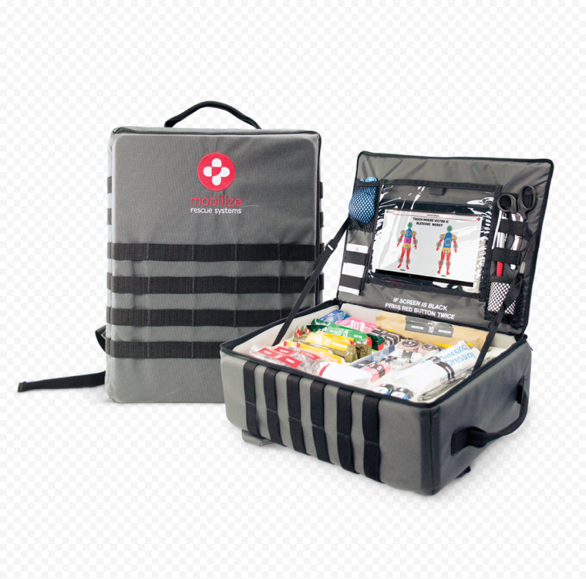 Gray Opened Medical First Aid Backpack Bag