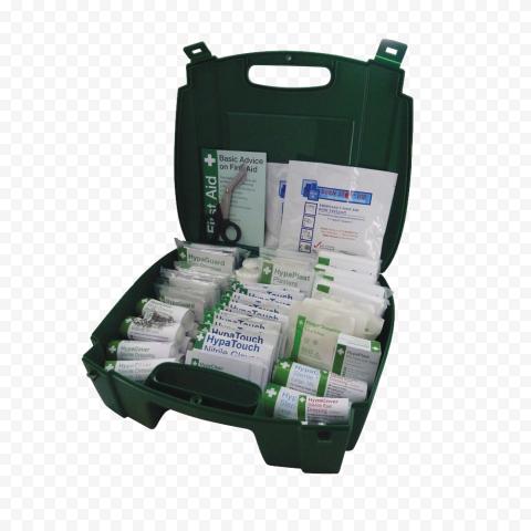 Opened First Aid Green Handbag Medicine Supplies