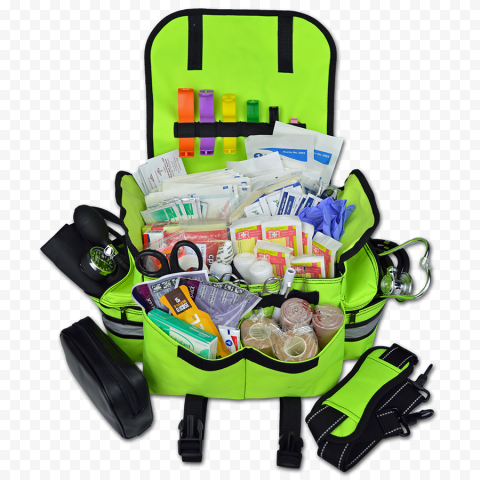 Green Fluo First Aid Bag With Medical Supplies