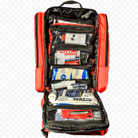 Opened First Aid Backpack With Medicine Supplies