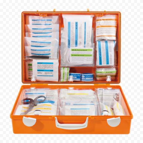 Orange Plastic Opened First Aid Handbag Supplies