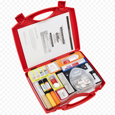 Red Plastic Opened First Aid Handbag Supplies