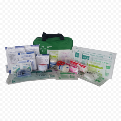 Green Small First Aid Kit With Medicine Supplies