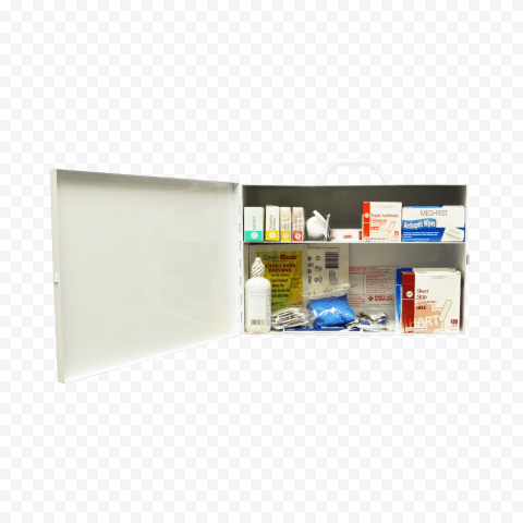 Home Opened First Aid Box With Medicine Supplies