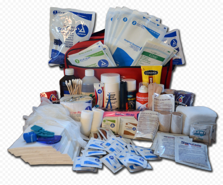 Opened First Aid Bag With Group Medicine Supplies