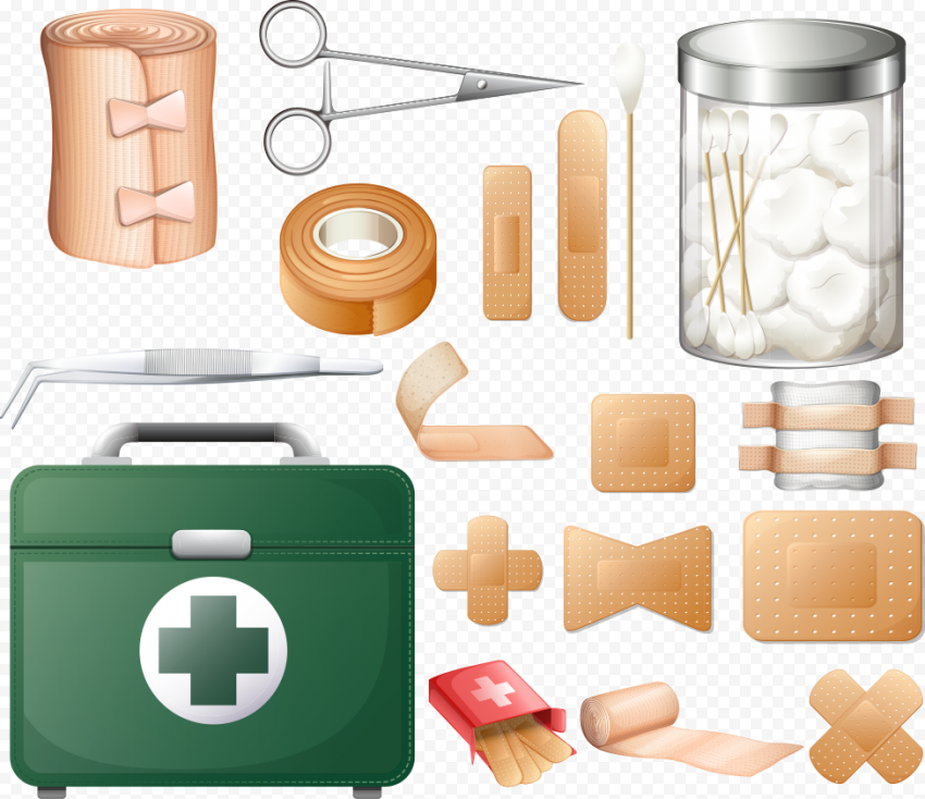 Illustration Set First Aid Items Emergency Icons